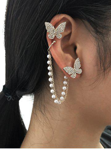 Butterfly Diamante Asymmetric Faux Pearl Chain Ear Cuffs