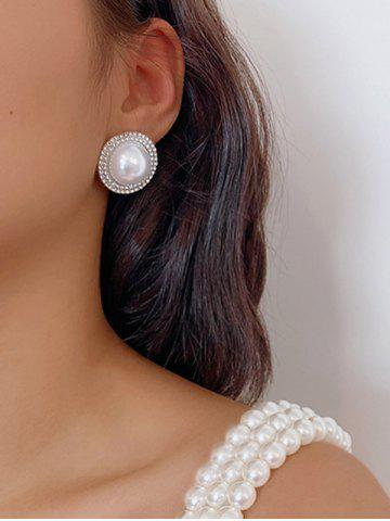 Round Faux Pearl Diamante Stud Earrings - SILVER