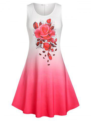 Plus Size Ombre Color Rose Print Sundress - RED - 5X