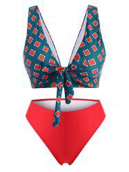 Plus Size Flower Tied Plunging Bikini Swimwear -