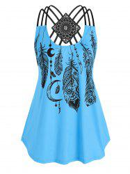 Plus Size Strappy Feather Print Tank Top -