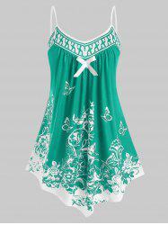Plus Size Bowknot Butterfly Print Cami Tank Top -