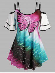 Plus Size Butterfly Print Cold Shoulder Tee -