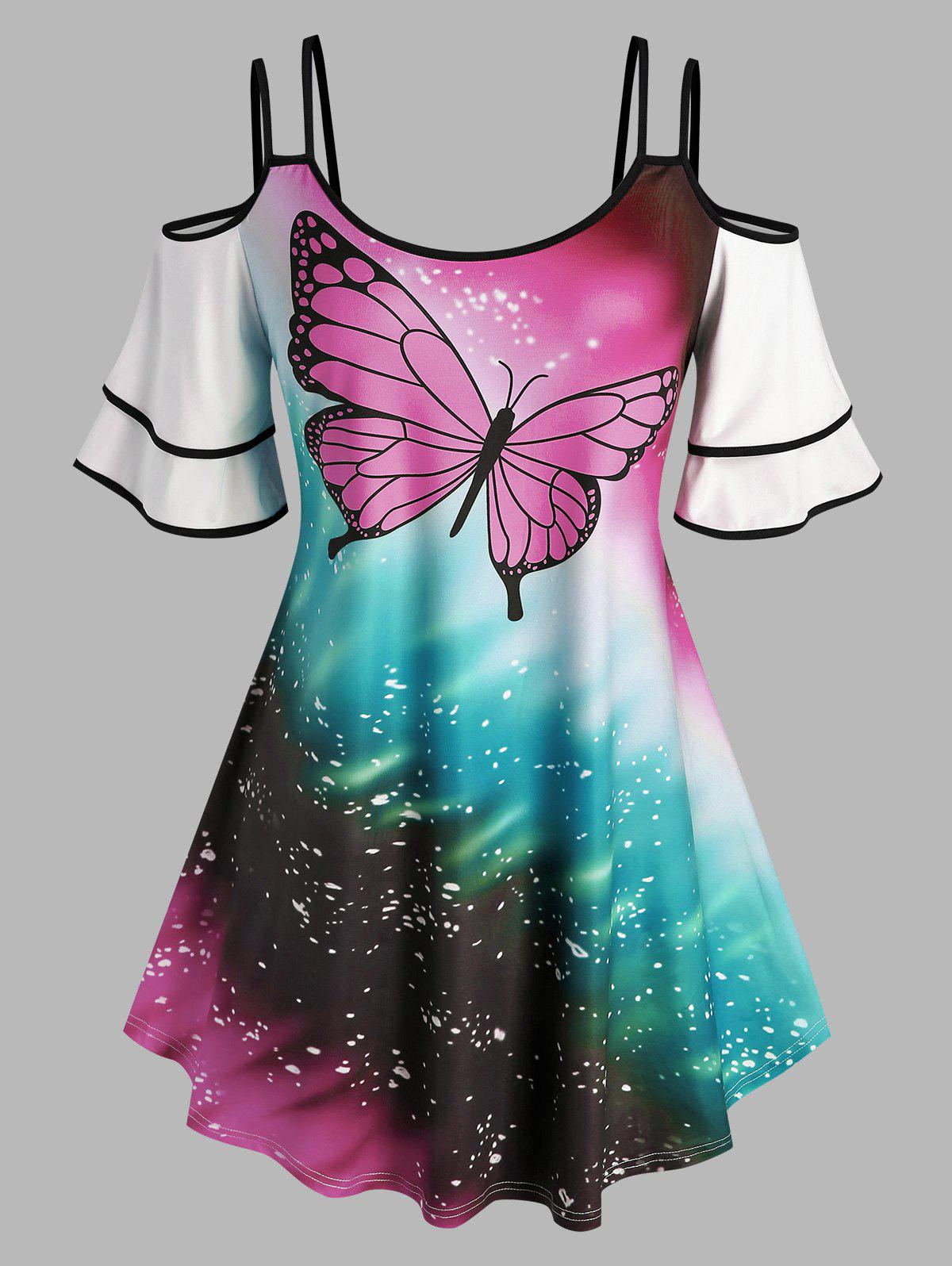 Trendy Plus Size Butterfly Print Cold Shoulder Tee