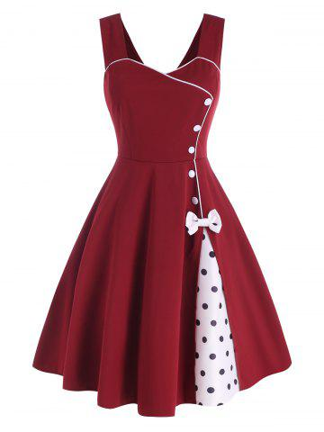 Bowknot Polka Dot Mock Button Slit Dress