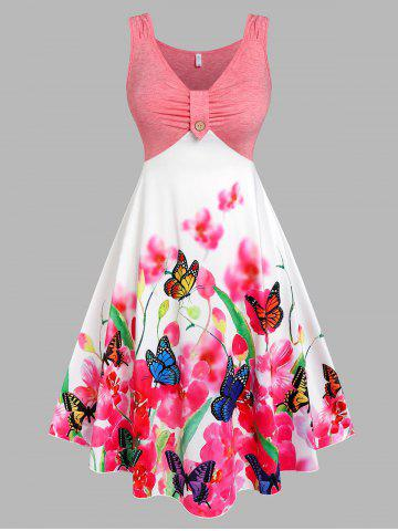 Plus Size Butterfly Floral Print Ruched Midi Dress