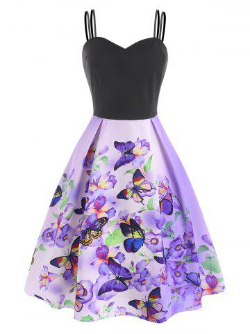 Floral Butterfly Print A Line Cami Dress