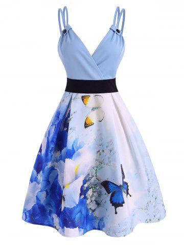 Watercolor Butterfly Dual Strap Cami Dress