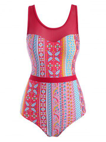 Ethnic Printed Lace Up Back Mesh Panel One-piece Swimsuit - RED - 2XL