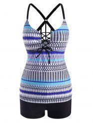 Printed Lace Up Front Strappy Back Tankini Swimwear -