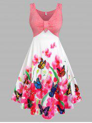 Plus Size Butterfly Floral Print Ruched Midi Dress -