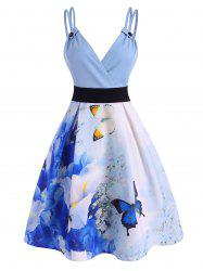 Watercolor Butterfly Dual Strap Cami Dress -