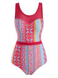 Ethnic Printed Lace Up Back Mesh Panel One-piece Swimsuit -
