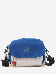 Colorblock Canvas Flap Crossbody Bag With Badge -