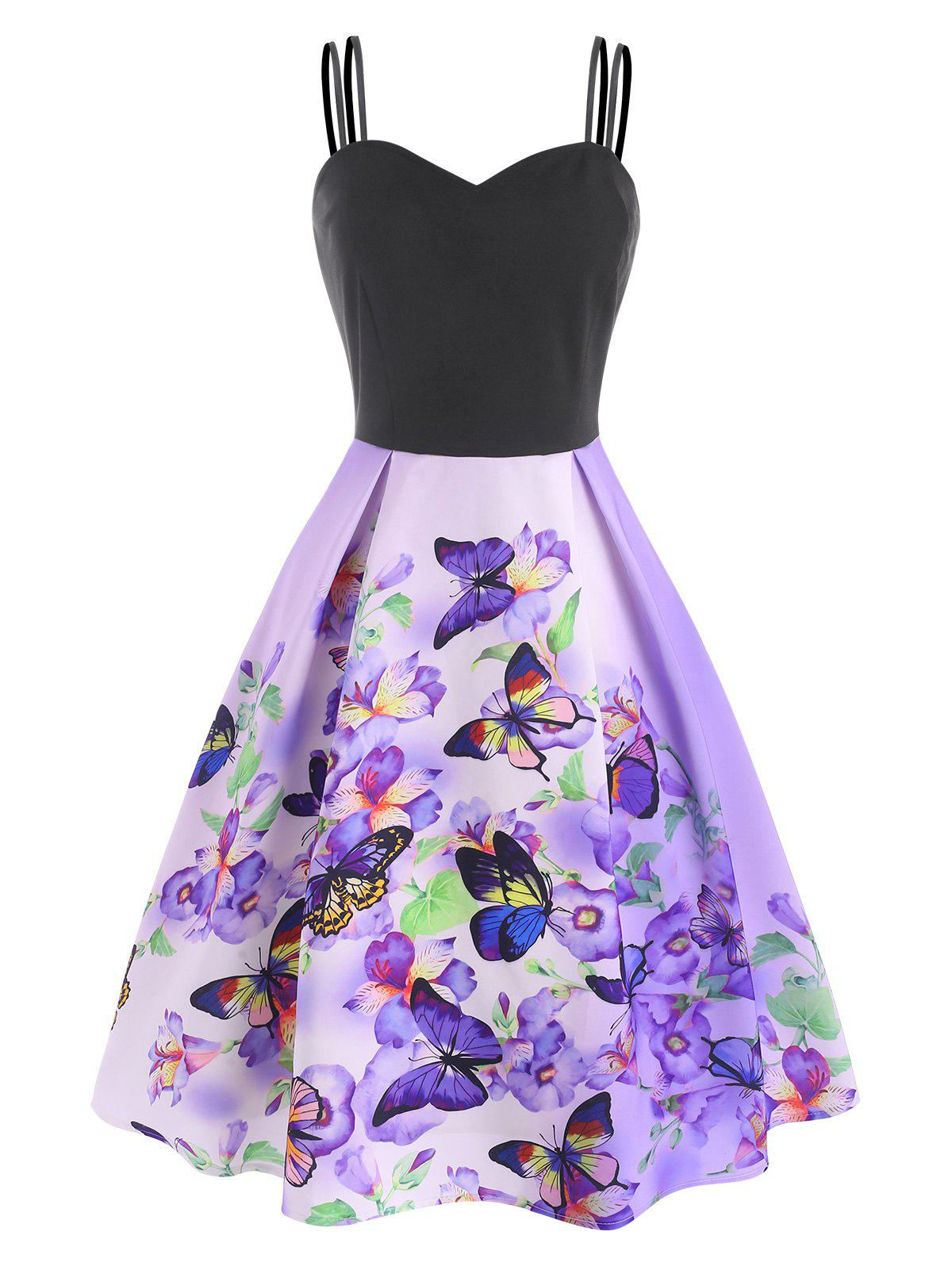 Fashion Floral Butterfly Print A Line Cami Dress
