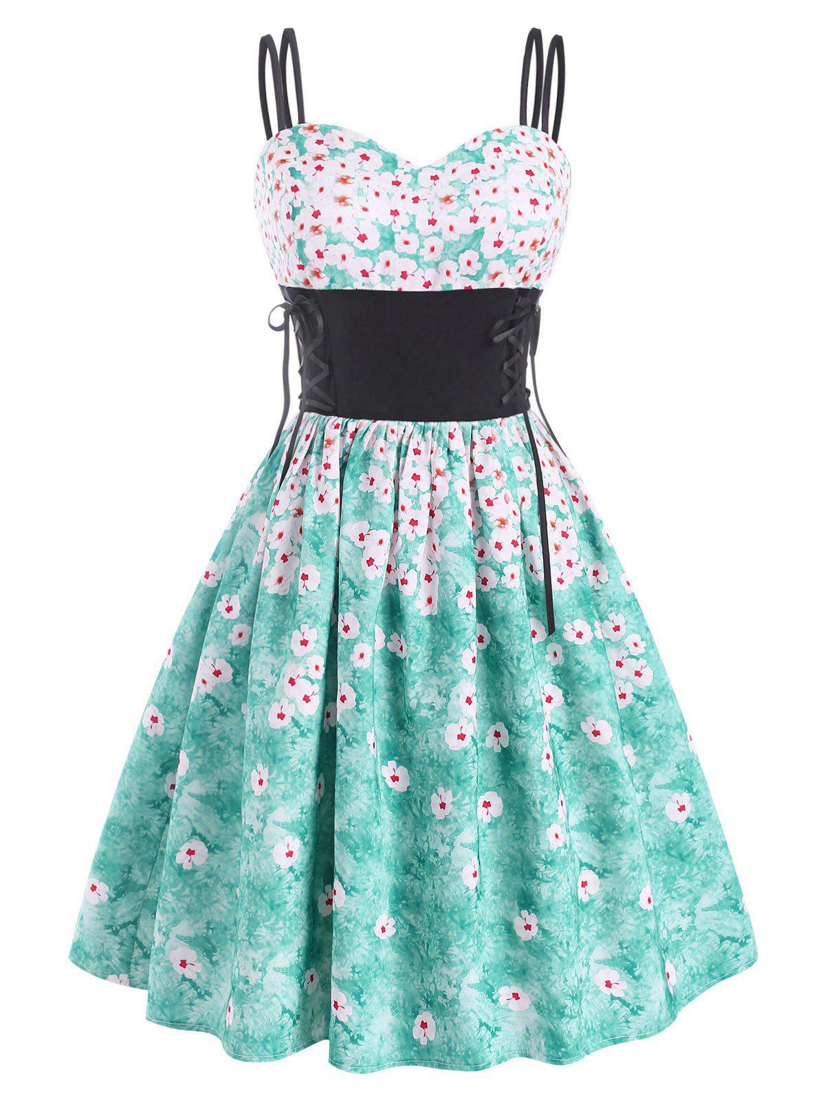 Outfit Lace Up Flower Dual Strap Dress