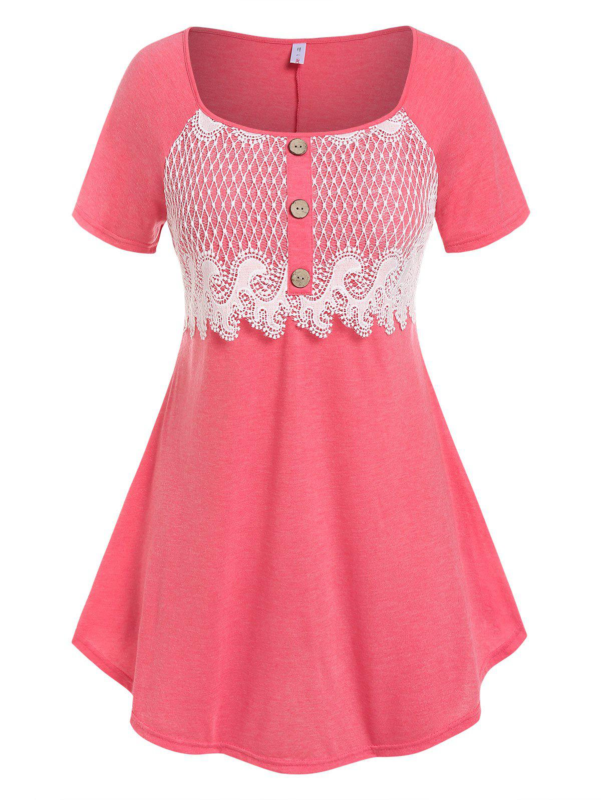 Outfit Plus Size Lace Panel Raglan Sleeve Tee