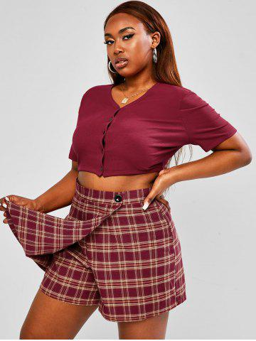 Plus Size Button Up Ribbed Baby Top and Plaid Skorts Set - DEEP RED - 2XL