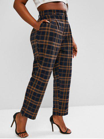 Plus Size High Waisted Plaid Print Tapered Pants - MULTI - 5XL