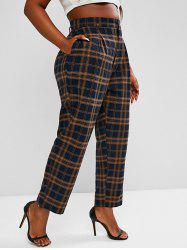 Plus Size High Waisted Plaid Print Tapered Pants -