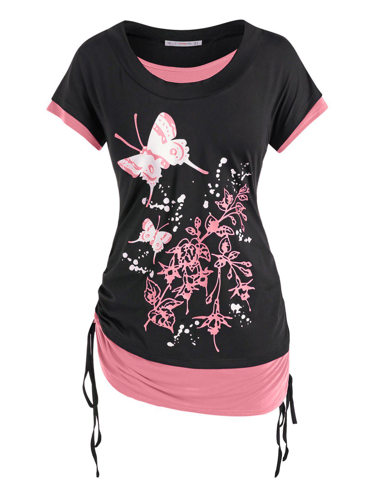 Fancy Plus Size Butterfly Floral Print Faux Twinset Cinched Tee