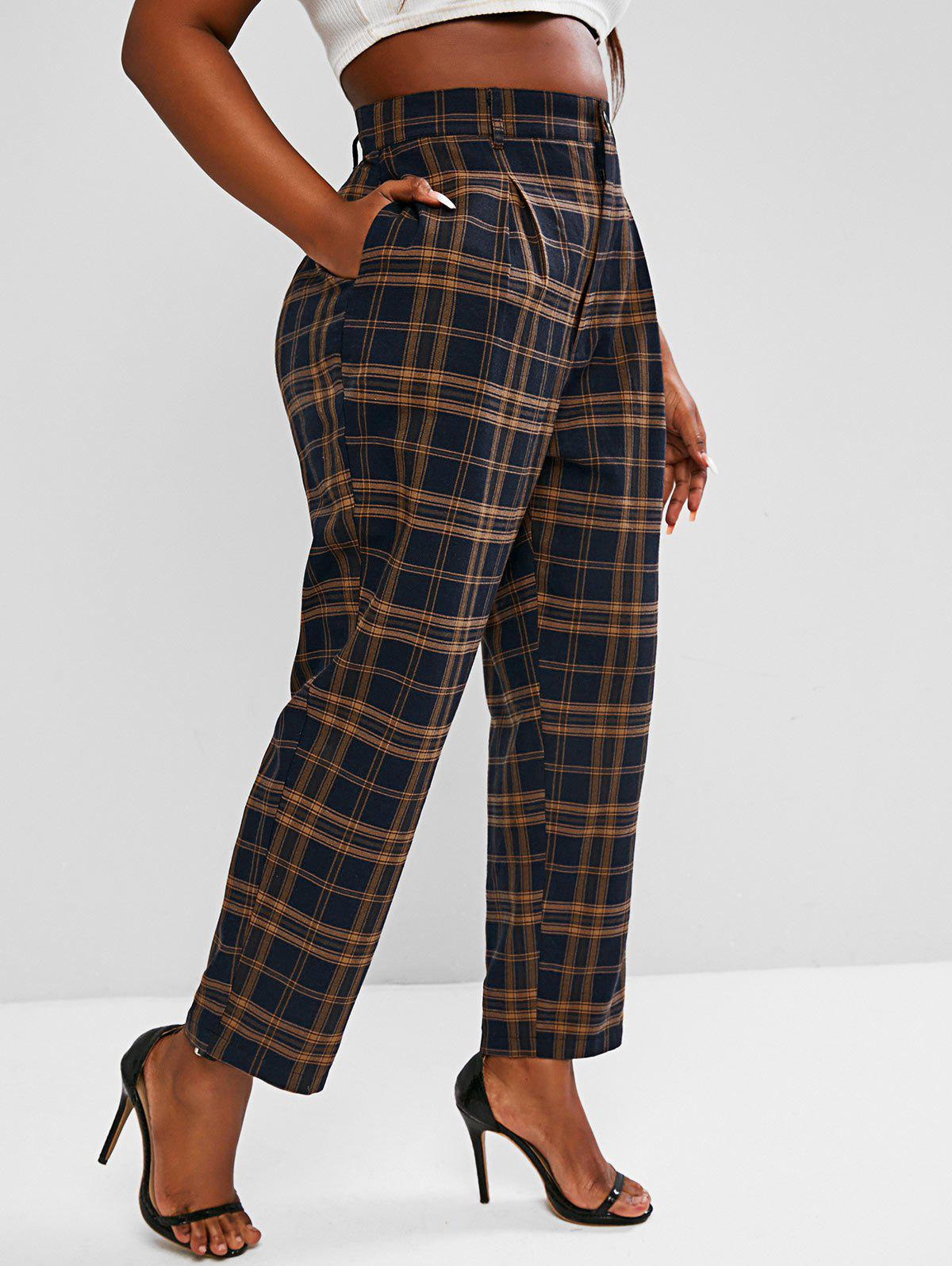 Cheap Plus Size High Waisted Plaid Print Tapered Pants