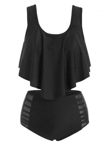 Flounce Overlay Mesh Panel Tankini Swimwear - BLACK - XL