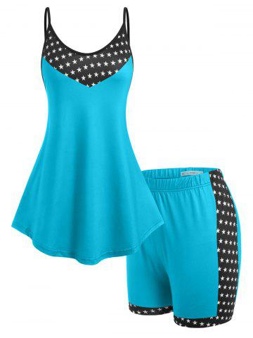 Plus Size Stars Print Tank Top and Shorts Pajamas Set