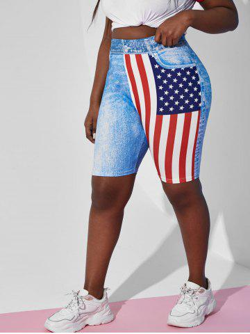 Plus Size High Rise American Flag Print Shorts - LIGHT BLUE - 1X