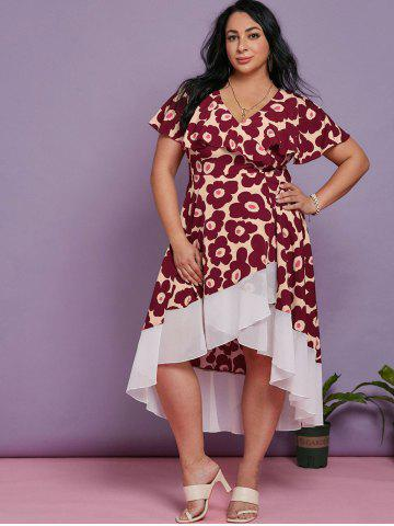 Plus Size Floral Print Maxi High Low Dress