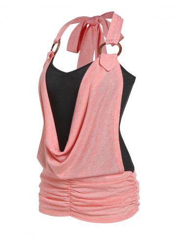 O Ring Cowl Front Faux Twinset Tank Top