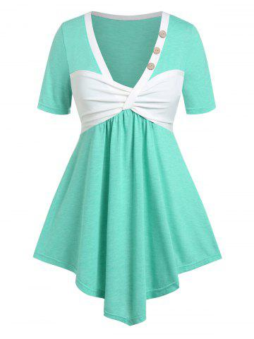 Plus Size Colorblock Front Ruched T Shirt - GREEN - L