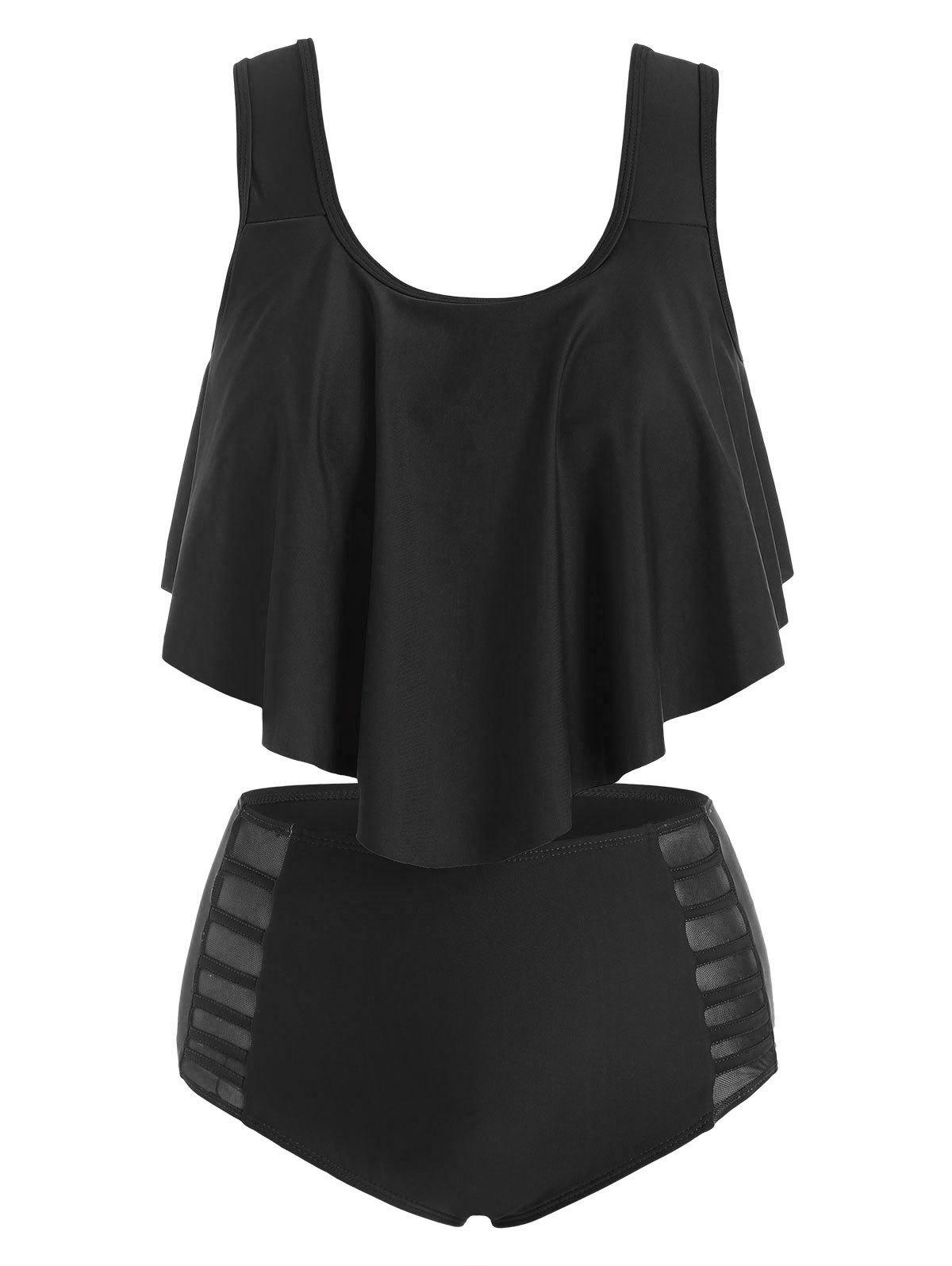 Unique Flounce Overlay Mesh Panel Tankini Swimwear