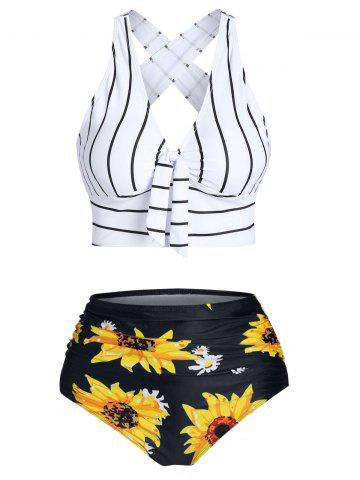 Striped Sunflower Criss Cross Tummy Control Bikini Swimwear