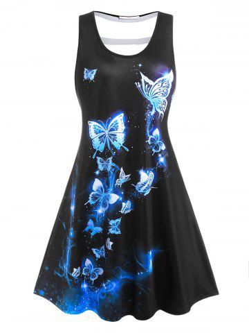 Plus Size Hollow Out Butterfly Pattern Tank Dress