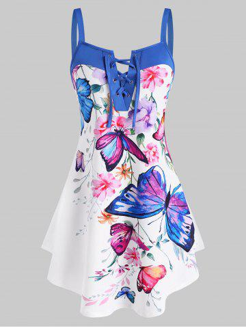 Lace Up Flower Butterfly Print Curved Hem Tank Top