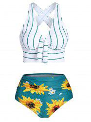 Striped Sunflower Criss Cross Tummy Control Bikini Swimwear -