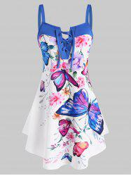 Lace Up Flower Butterfly Print Curved Hem Tank Top -