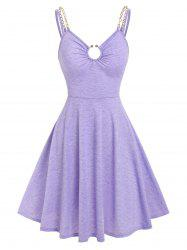 Chains Strap O Ring Fit and Flare Dress -