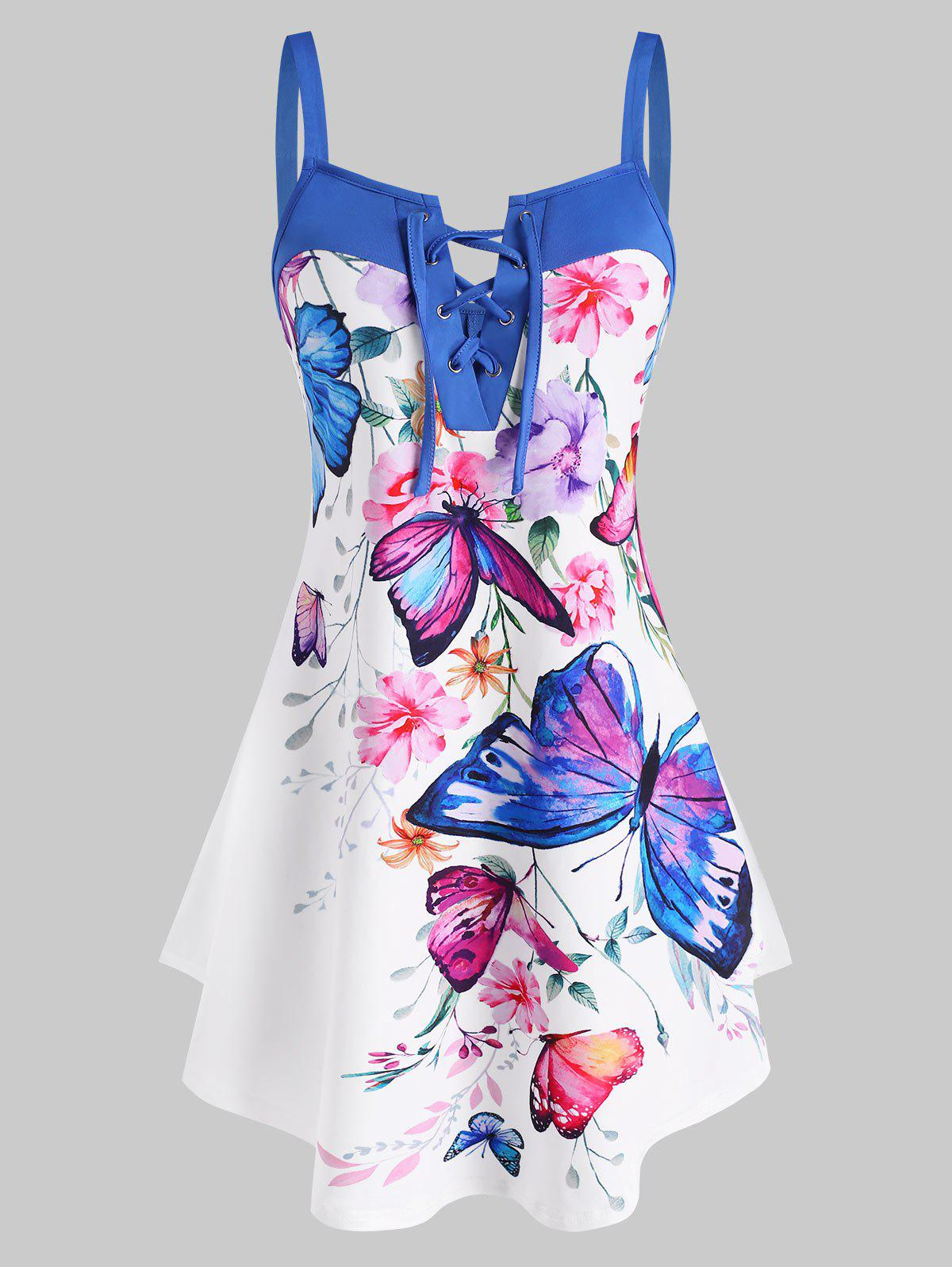 Trendy Lace Up Flower Butterfly Print Curved Hem Tank Top
