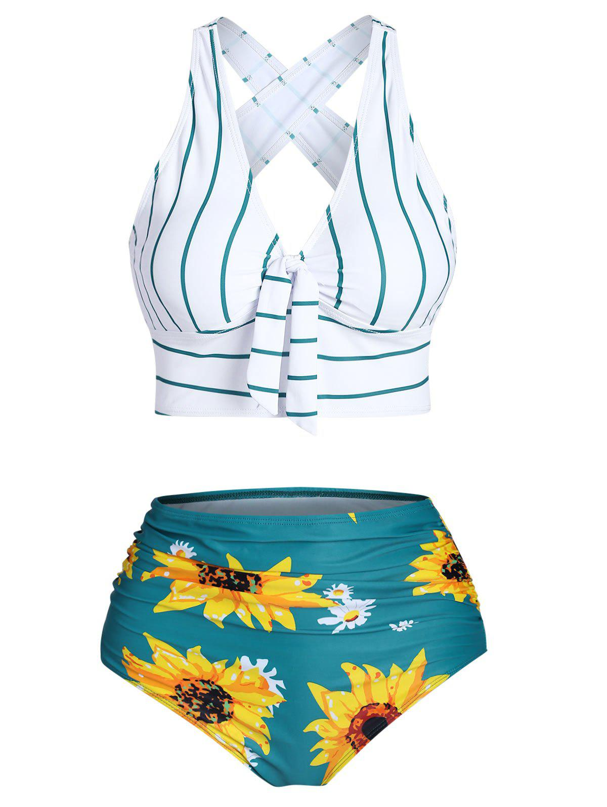 Best Striped Sunflower Criss Cross Tummy Control Bikini Swimwear