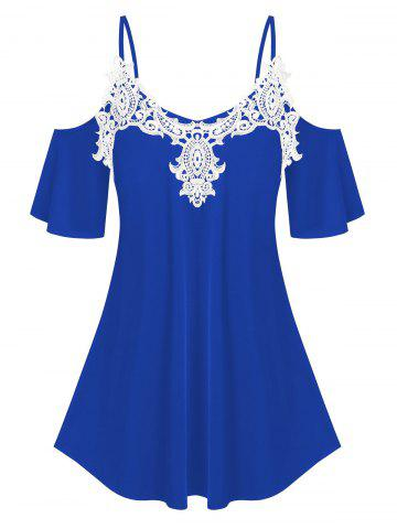 Plus Size Lace Applique Cold Shoulder Tee - BLUE - 1X