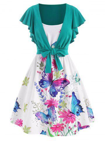 Cami Flower Butterfly Print Dress with Tie Front T Shirt