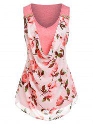 Cowl Front Floral Print Overlay Tank Top -
