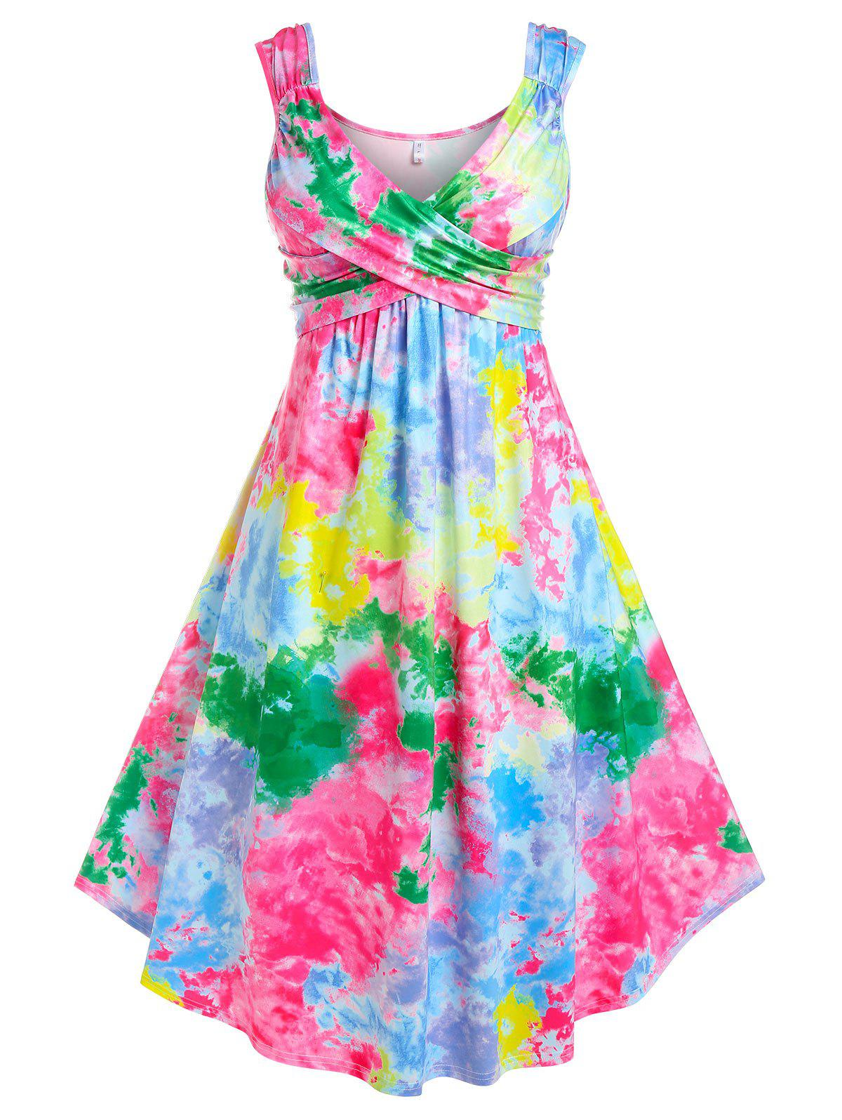 Affordable Plus Size Plunge Tie Dye Crossover Midi Dress