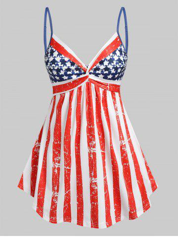 Plus Size American Flag Print  Front Twist Tank Top - RED - 4X