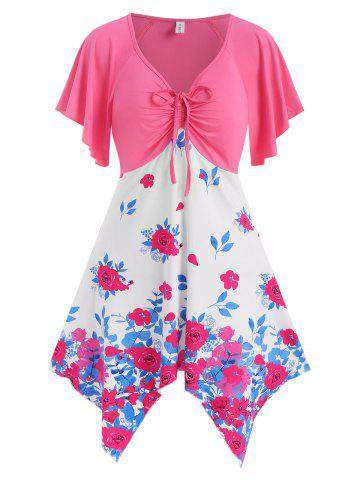 Floral Cinched Ruched Handkerchief Hem Flutter Sleeve Tunic Top