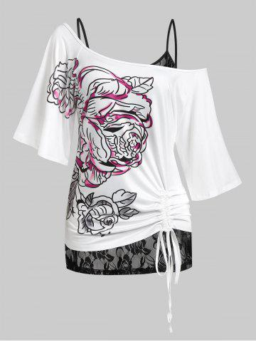 Plus Size Flower Cinched Tie T-shirt and Sheer Lace Cami Top Set - WHITE - 4X