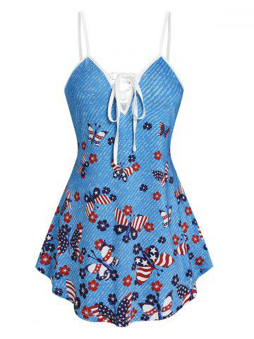 Star And Striped Butterfly Print Cami Tank Top - LIGHT BLUE - M