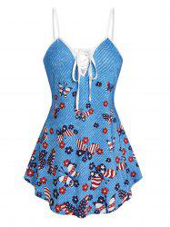 Star And Striped Butterfly Print Cami Tank Top -